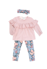 Marie Nicole Clothing Ruffle Top & Steel Blue Floral Pants Outfit