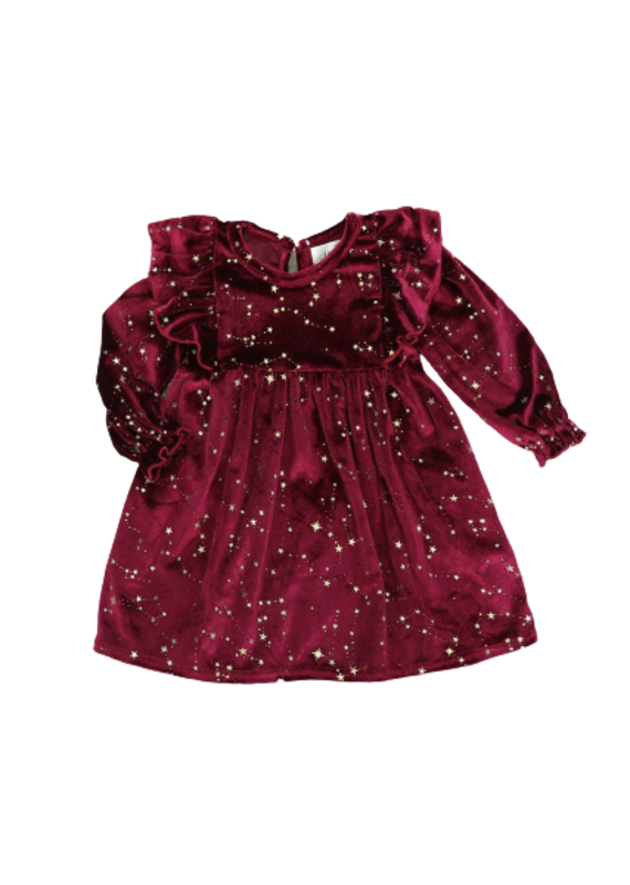 Marie Nicole Clothing Wine Starry Night Velvet Ruffle Dress Infant