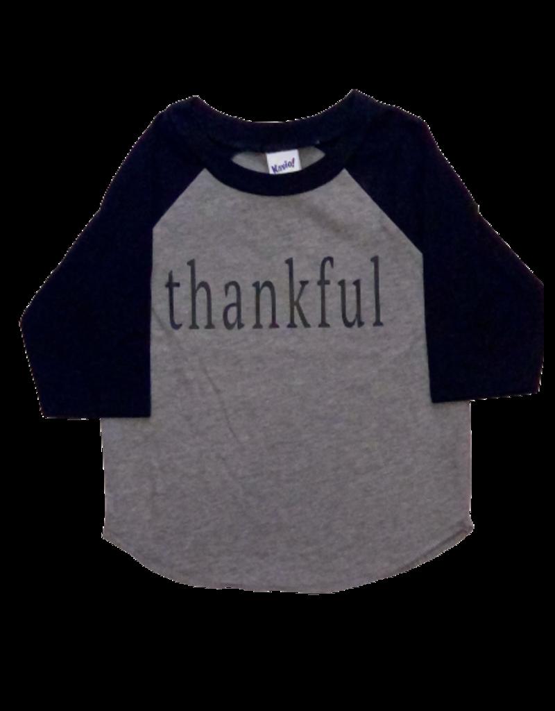 Thankful Grey/Black Baseball Tee