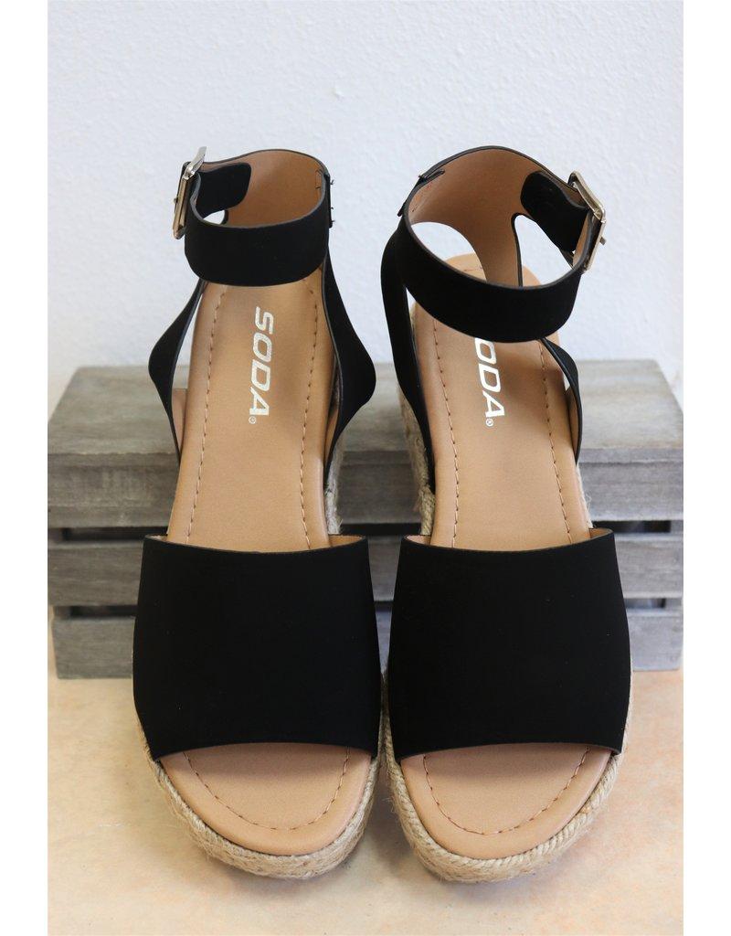 Black espadrille platform sandals