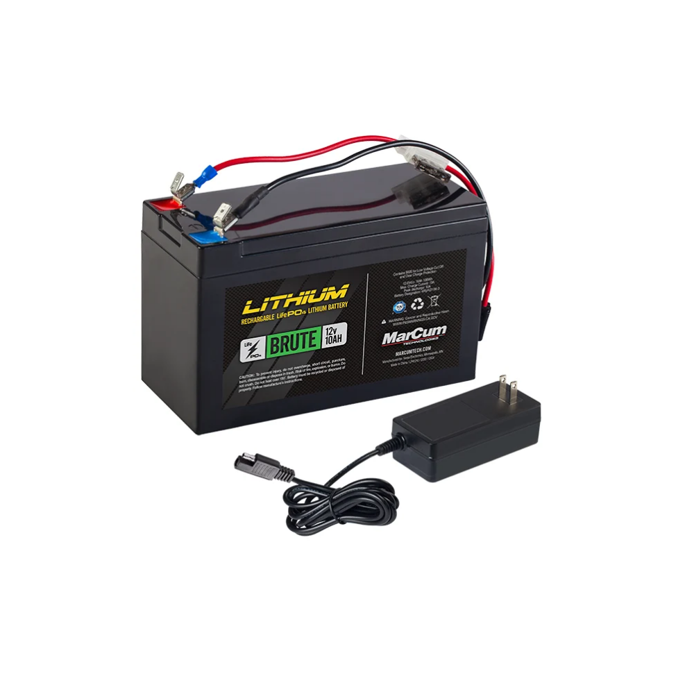 Marcum 12V 10AH LiFePO4 Battery and 3amp Charger