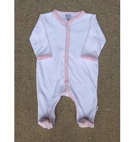 Paty Inc. Newborn White Cotton Footie w/Pink Trim