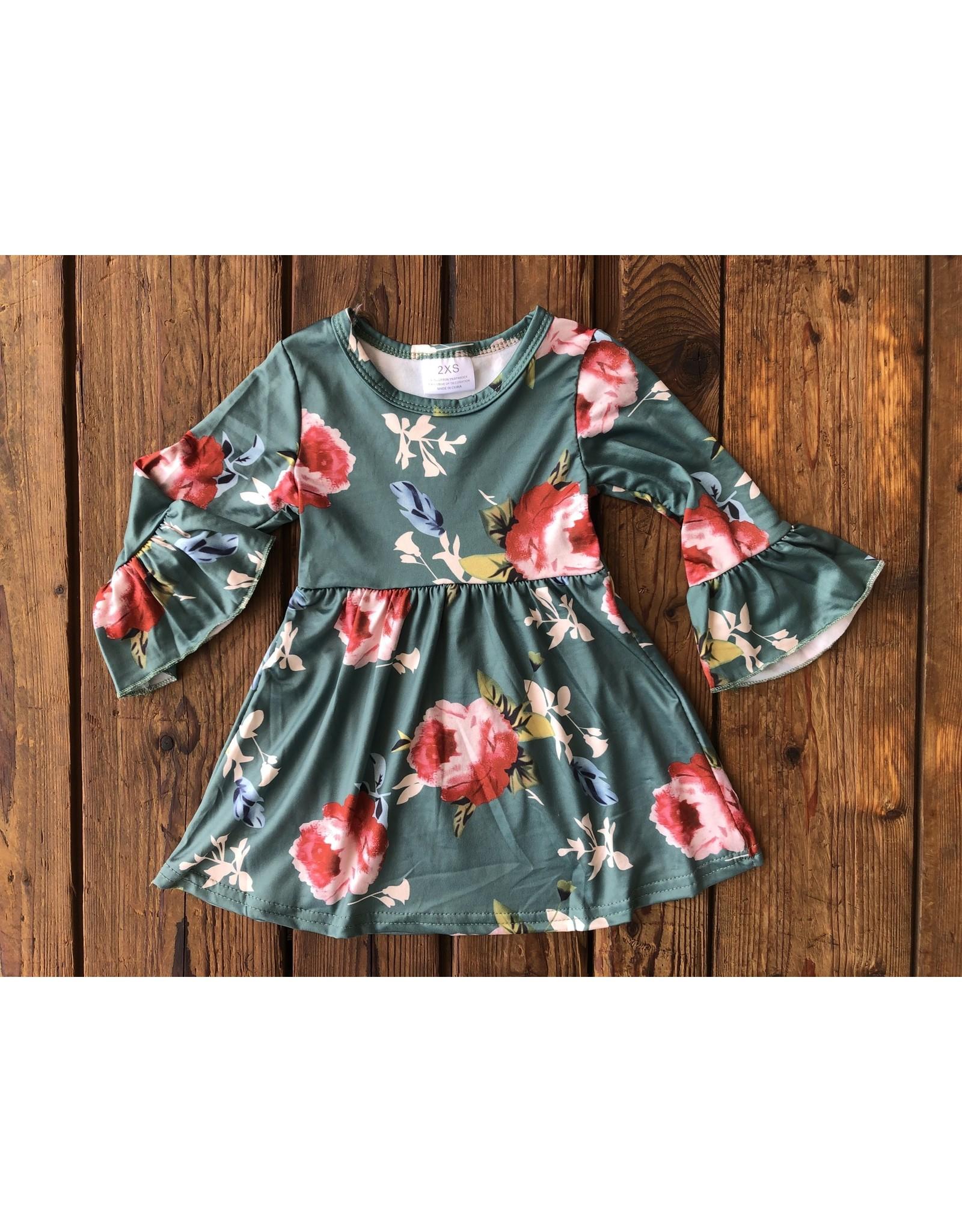 Erin Olive Floral Dress