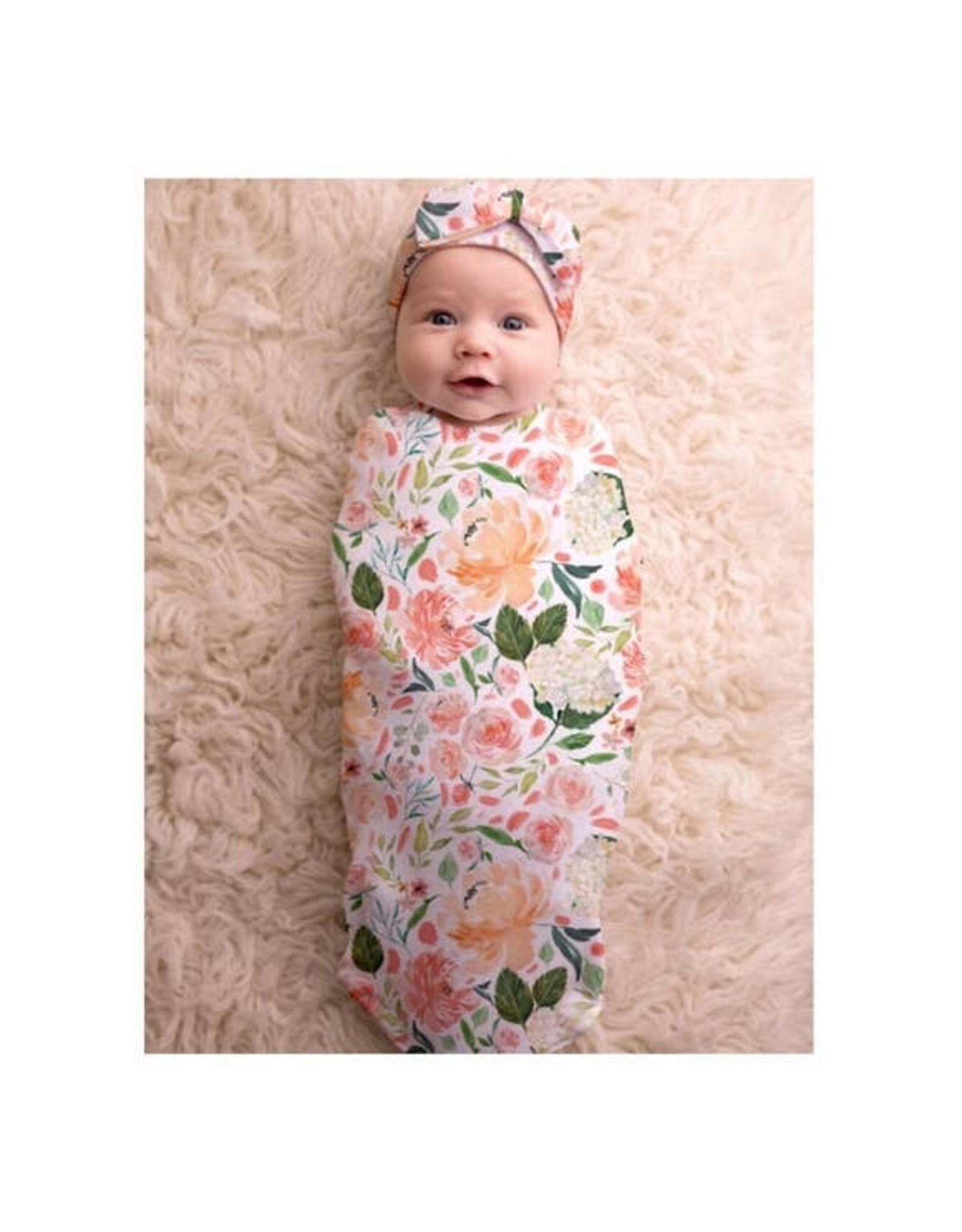 Itzy Ritzy Itzy Ritzy - Cutie Cocoon: Peach Floral Cocoon & Hat Set 0-3M