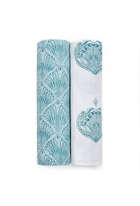 Aden + Anais Aden + Anais - 2-pack Classic Swaddles- Paisley-Teal