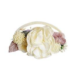 Baileys Blossoms Bailey's Blossoms - Ivory & Mauve Floral Stretch Headband