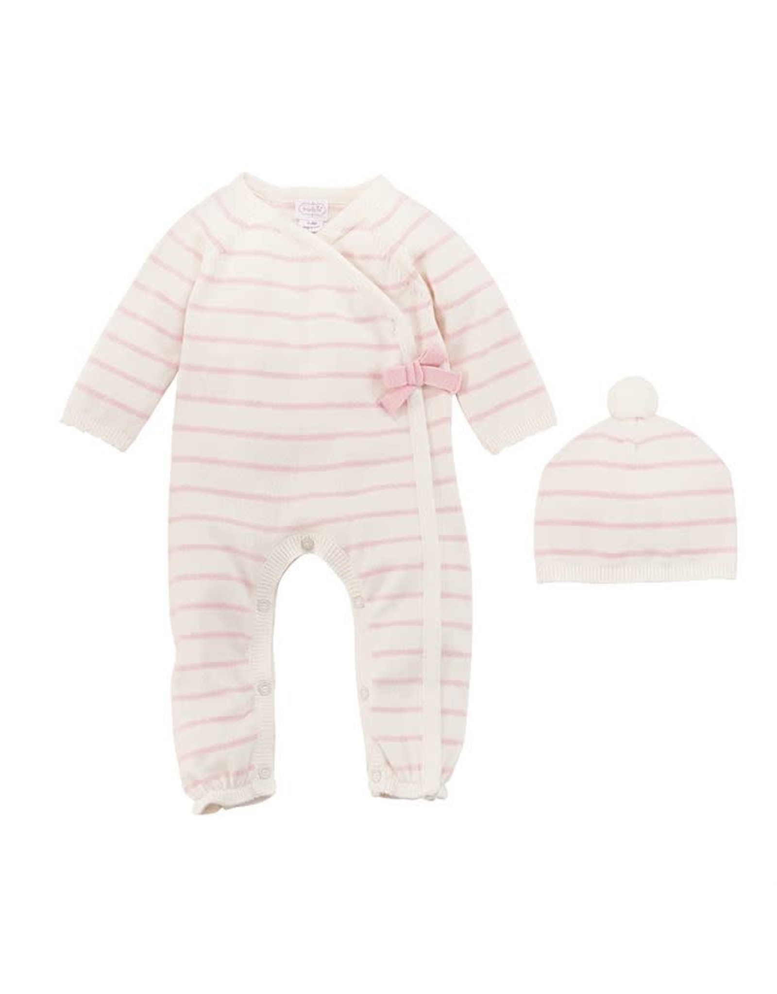 Mudpie Mud Pie - Pink & Ivory Stripe Knitted 0-3m Gift Set