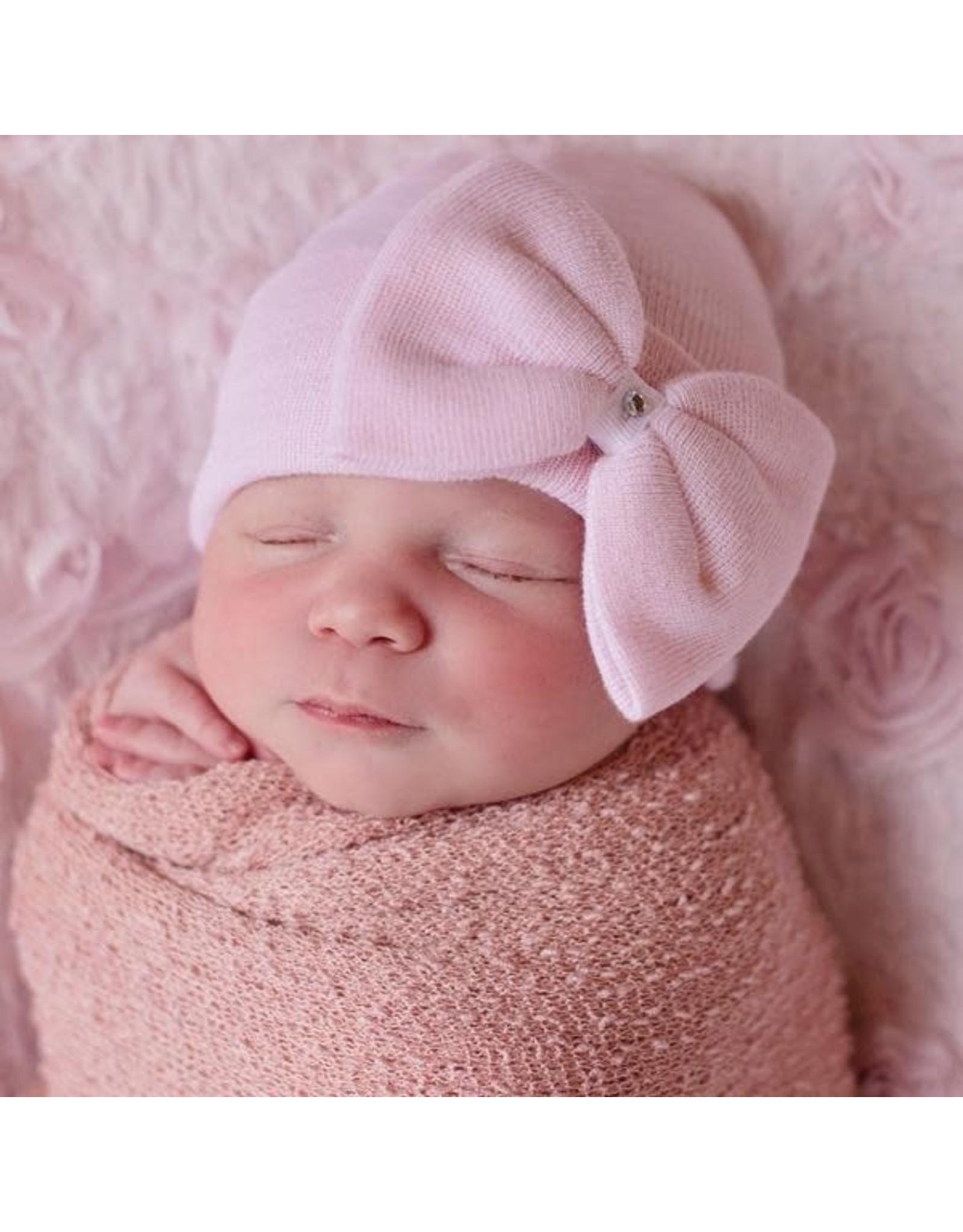 ILYBEAN Ilybean- Polly Pink Big Bow Hospital Hat