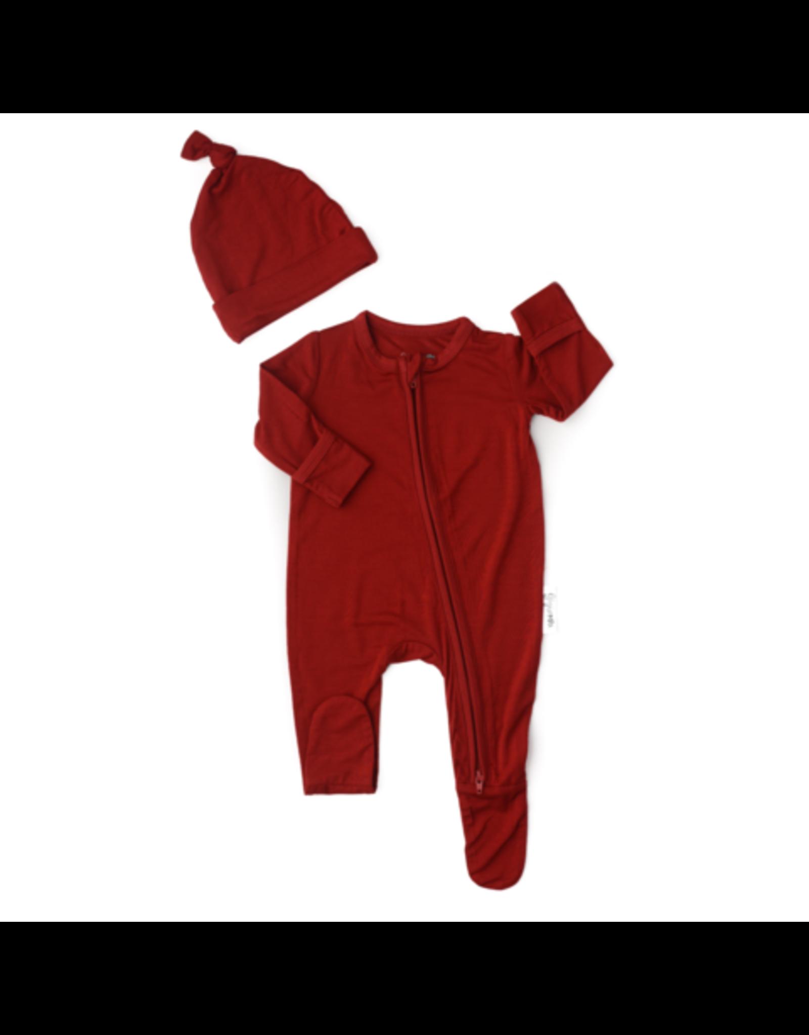 Gigi & Max Gigi & Max - Sawyer Red Rust Newborn Footed Zip & Hat Set