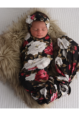 Gigi & Max Gigi & Max - Emma Black Peony Swaddle Blanket & Headband Set