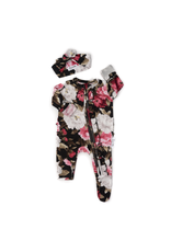 Gigi & Max Gigi & Max - Emma Black Peony Newborn Footed Ruffle Zip & Heaband Set