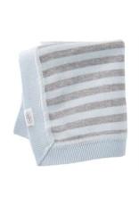 Mudpie Mud Pie- Blue & Gray Striped Knit Blanket