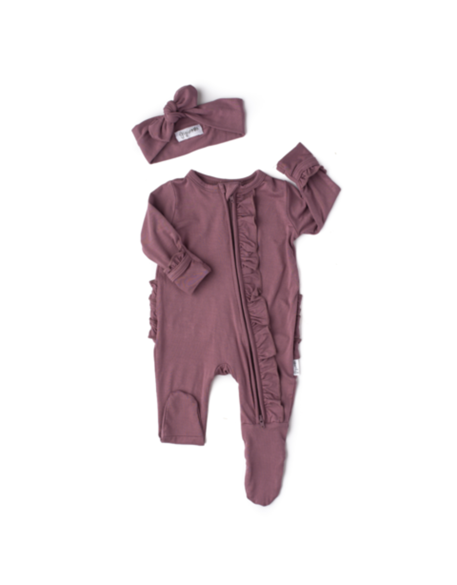 Gigi & Max Gigi & Max- Kate Mauve Newborn Ruffled Footed Zip & Headband Set