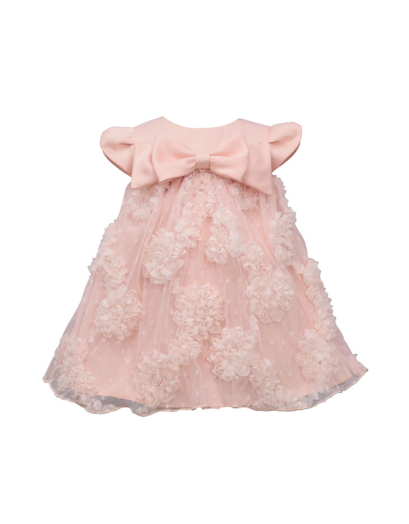 Bonnie  Jean Bonnie Baby- Peach Matte Satin Dress w/Bloomer