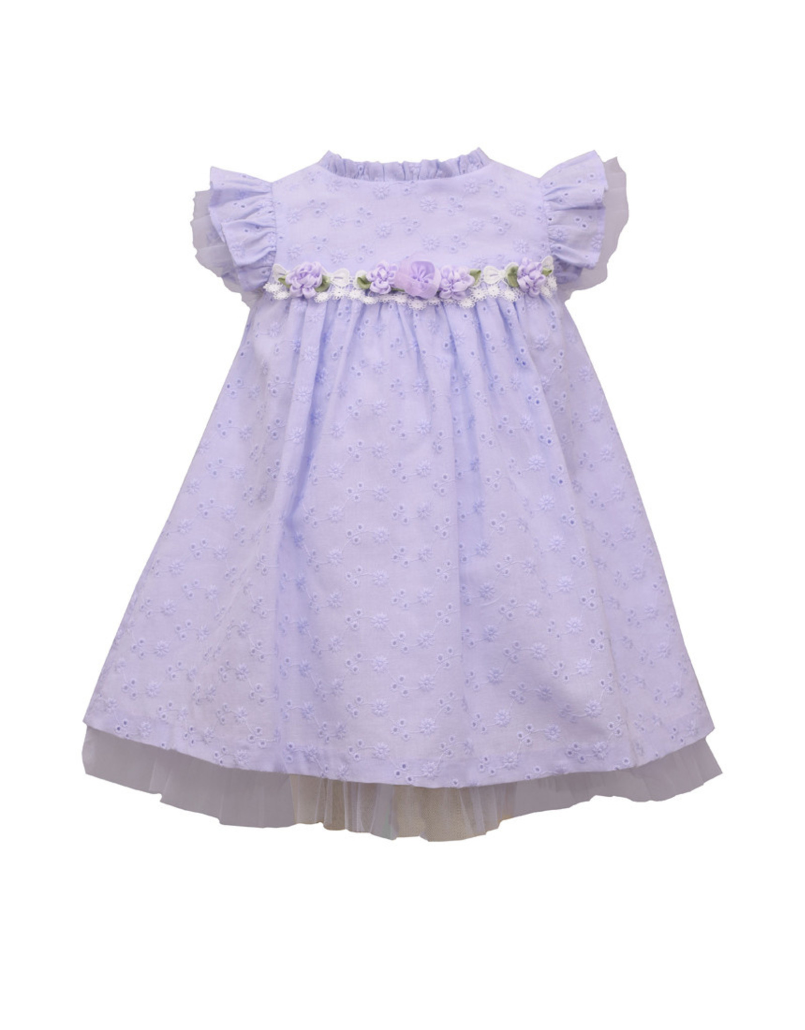 Bonnie  Jean Bonnie Baby- Lavender Flutter Eyelet Dress w/Bloomer