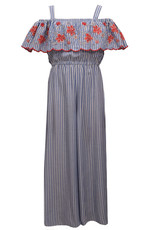 Bonnie  Jean Bonnie Jean- Chambray Striped Embroidered Jumpsuit