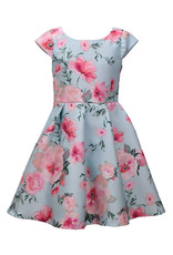 Bonnie  Jean Bonnie Jean- Aqua Floral Mikado Pleated Dress