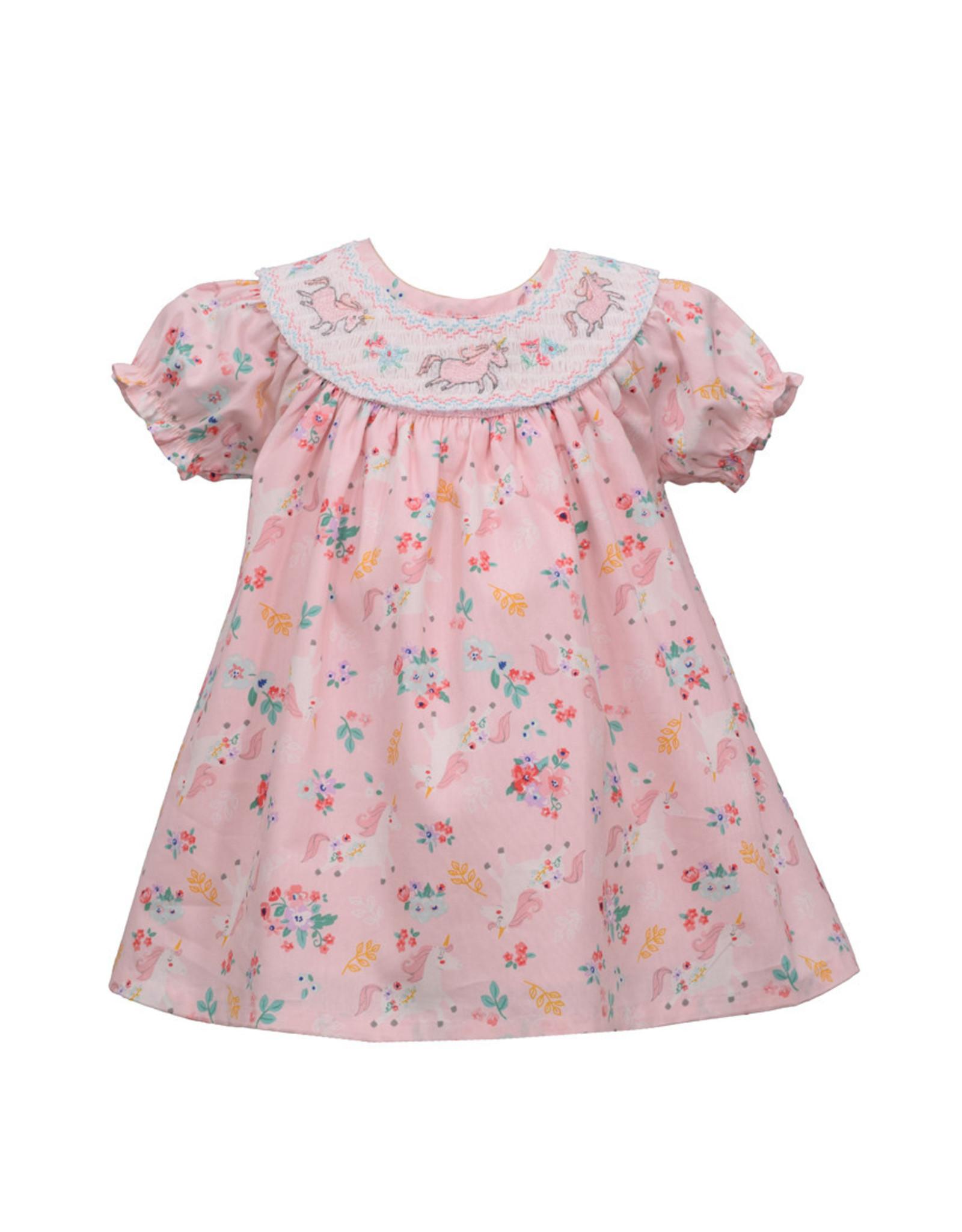 Bonnie  Jean Bonnie Baby- Unicorn Print Smocking Dress