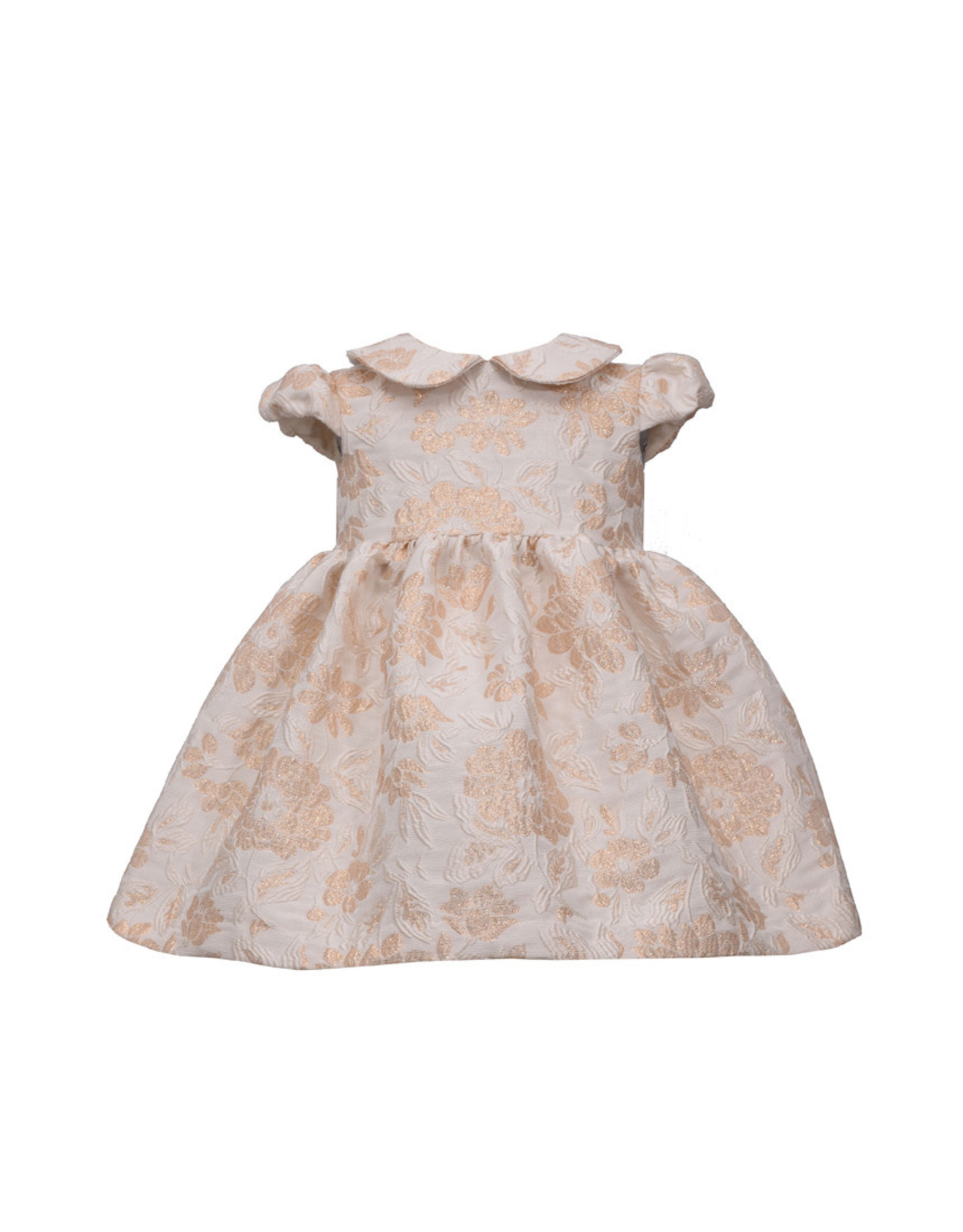 Bonnie  Jean Bonnie Jean- Gold Jaquard Empire Dress