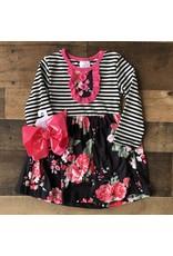 Black Stripe Pink Floral Button Dress