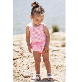 Ruffle Butts Ruffle Butts- Rose Gingham Skirted One Piece