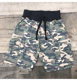 Mish Boys Mish Boys- Distressed Camo Shorts- Olive