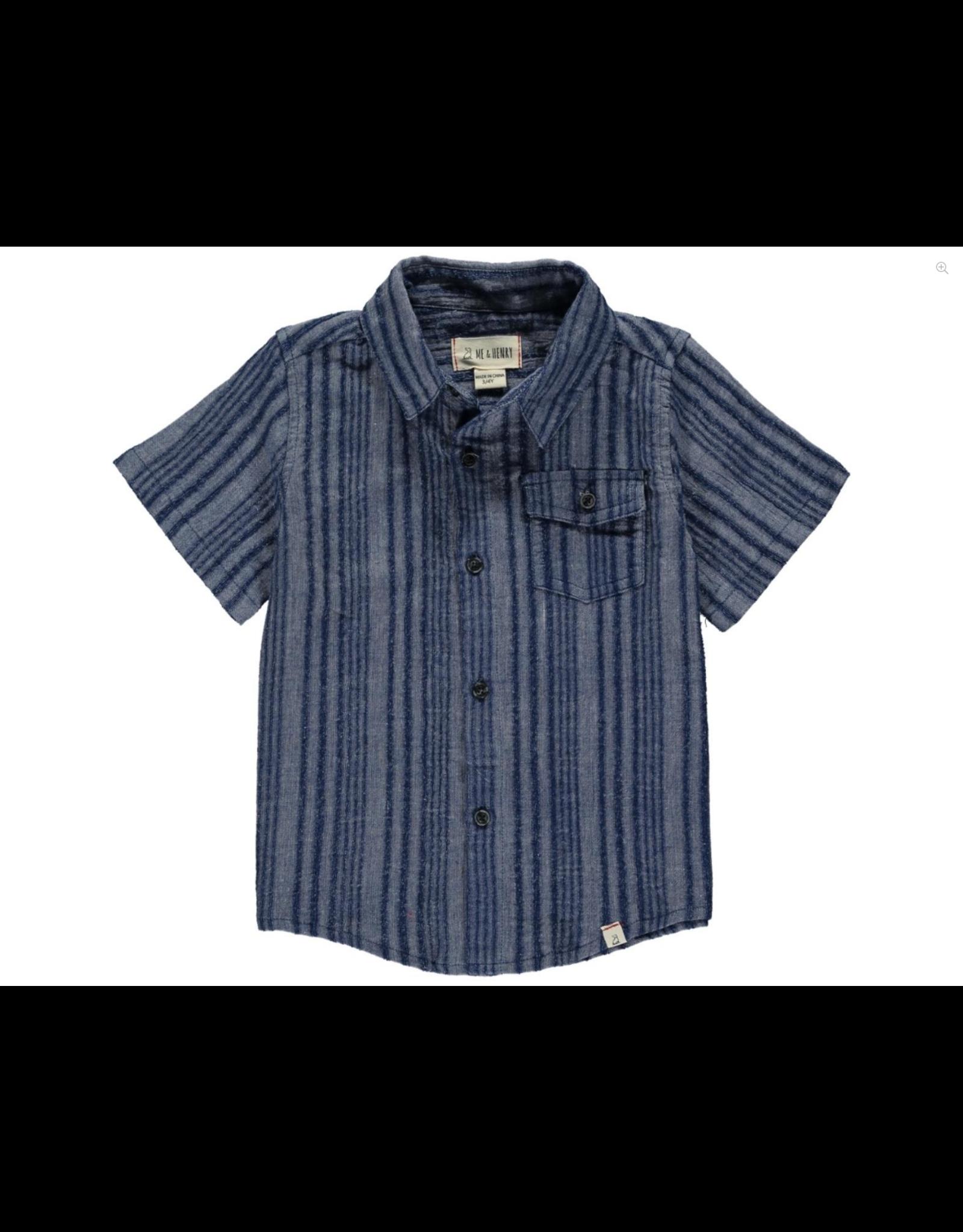 Me & Henry Me & Henry- Navy Woven S/S Shirt