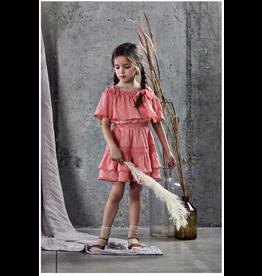 Ujala Ujala- Cotton Lurex Off Shoulder Dress- Coral