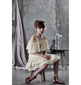 Ujala Ujala- Cotton Lurex Off Shoulder Dress- Cream