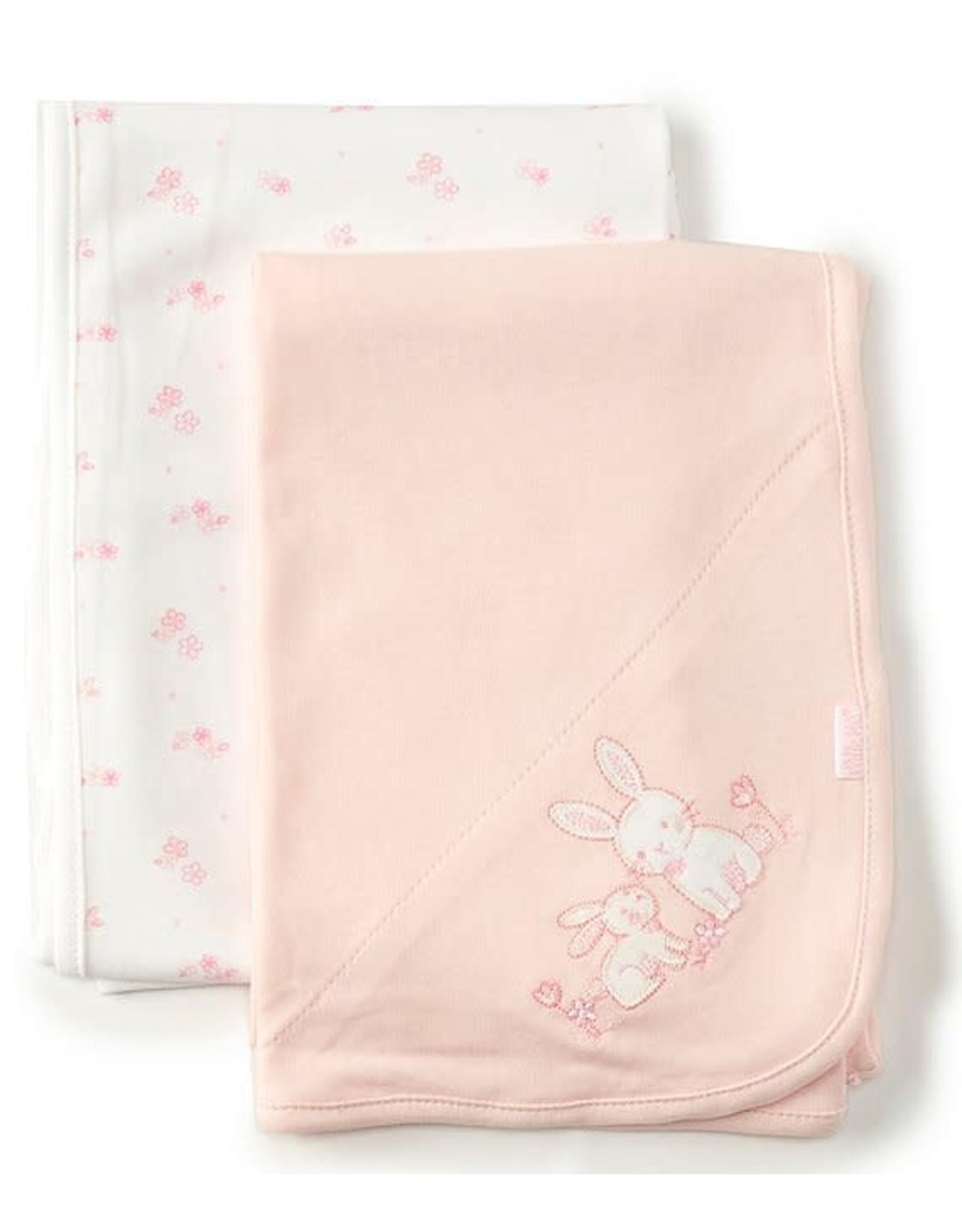 Little Me Little Me- Bunnies 2PK Receiving Blanket