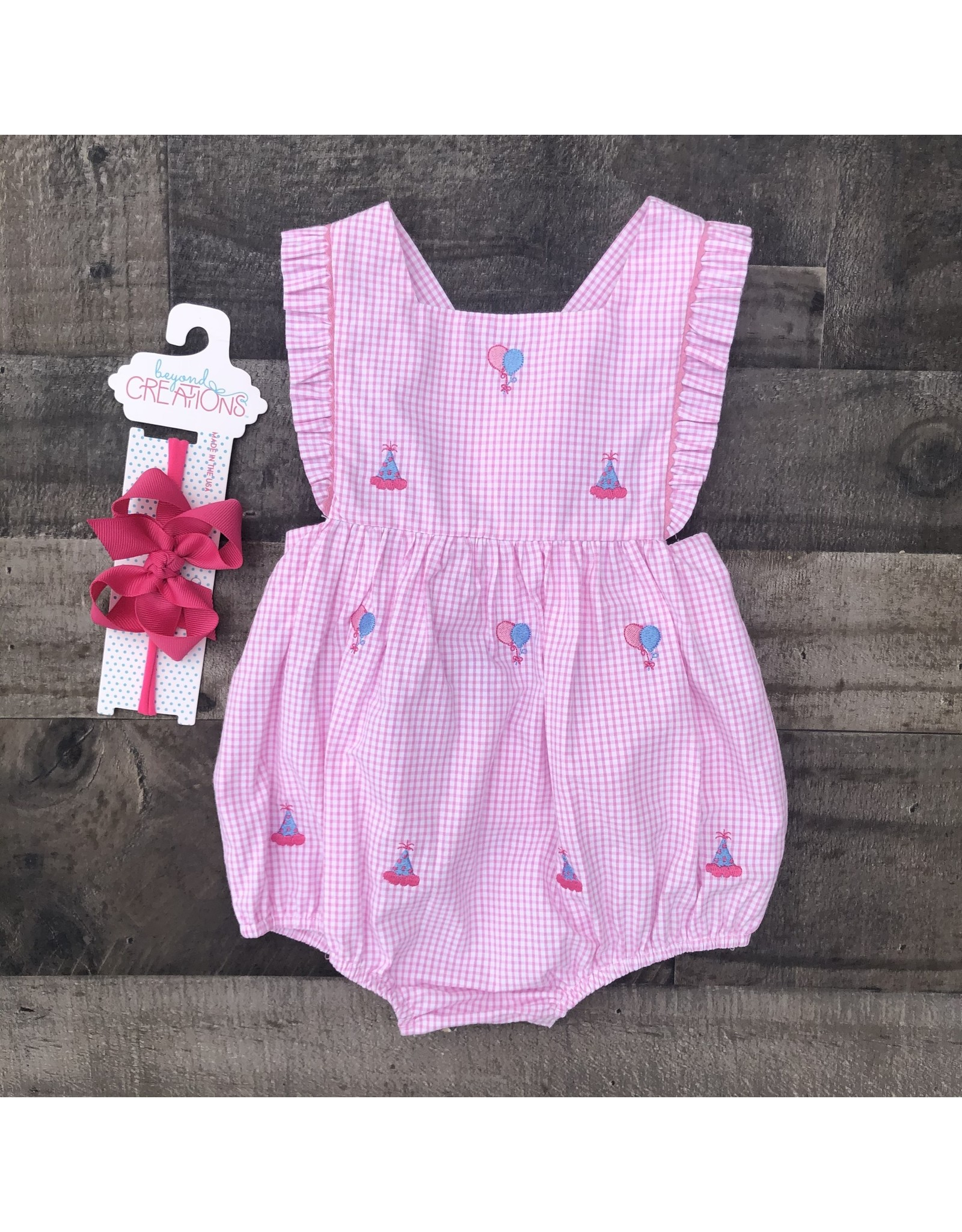 Monday's Child - Birthday Embroidery Pink Check