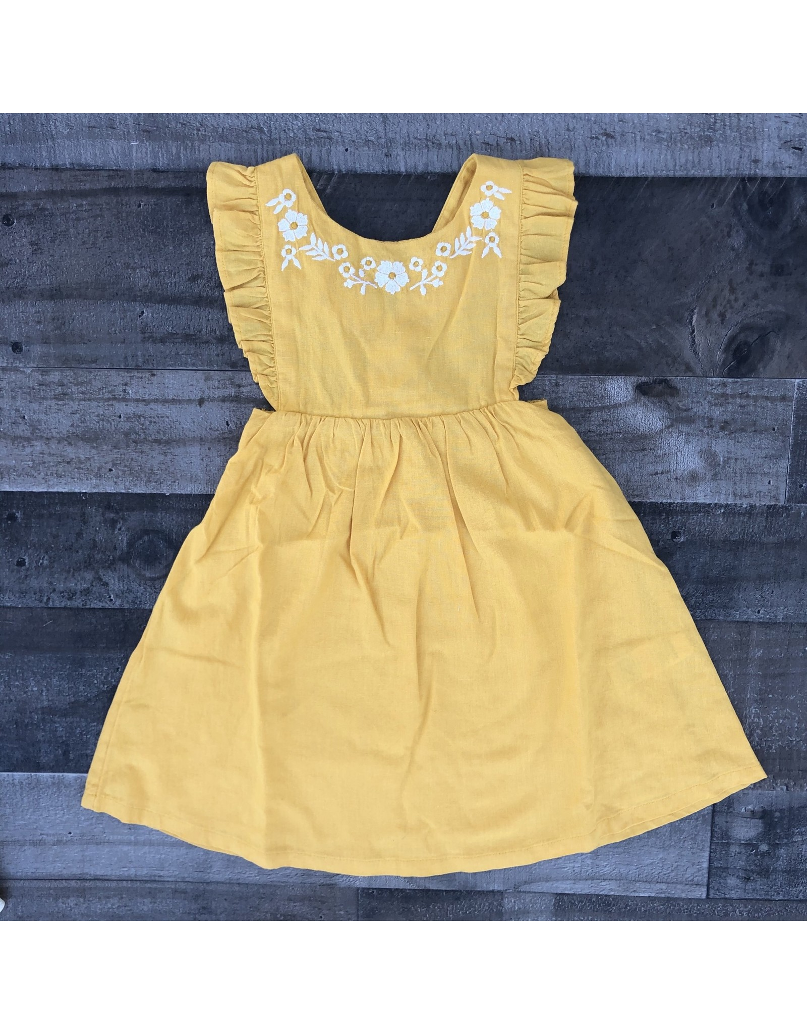 JoJo Maman Bebe' JoJo- Pretty Embroidered Summer Dress- Yellow