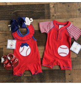 Three Sisters Three Sisters- Baseball Girls App Romper