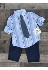 Little Me Little Me- Blue Plaid Woven Pant Set