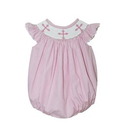 Silly Goose- Crosses Light Pink Smocked Stripe Girls Angel Wing
