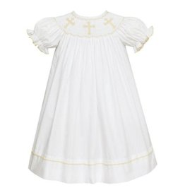 AN Crosses-Bishop S/S- White Poplin Dress