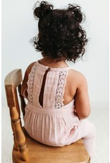 City Mouse City Mouse- Muslin Lace Back Romper- Peach Blossom