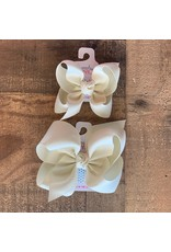 Beyond Creations Beyond Creations- Antique White Grosgrain Knot Bow