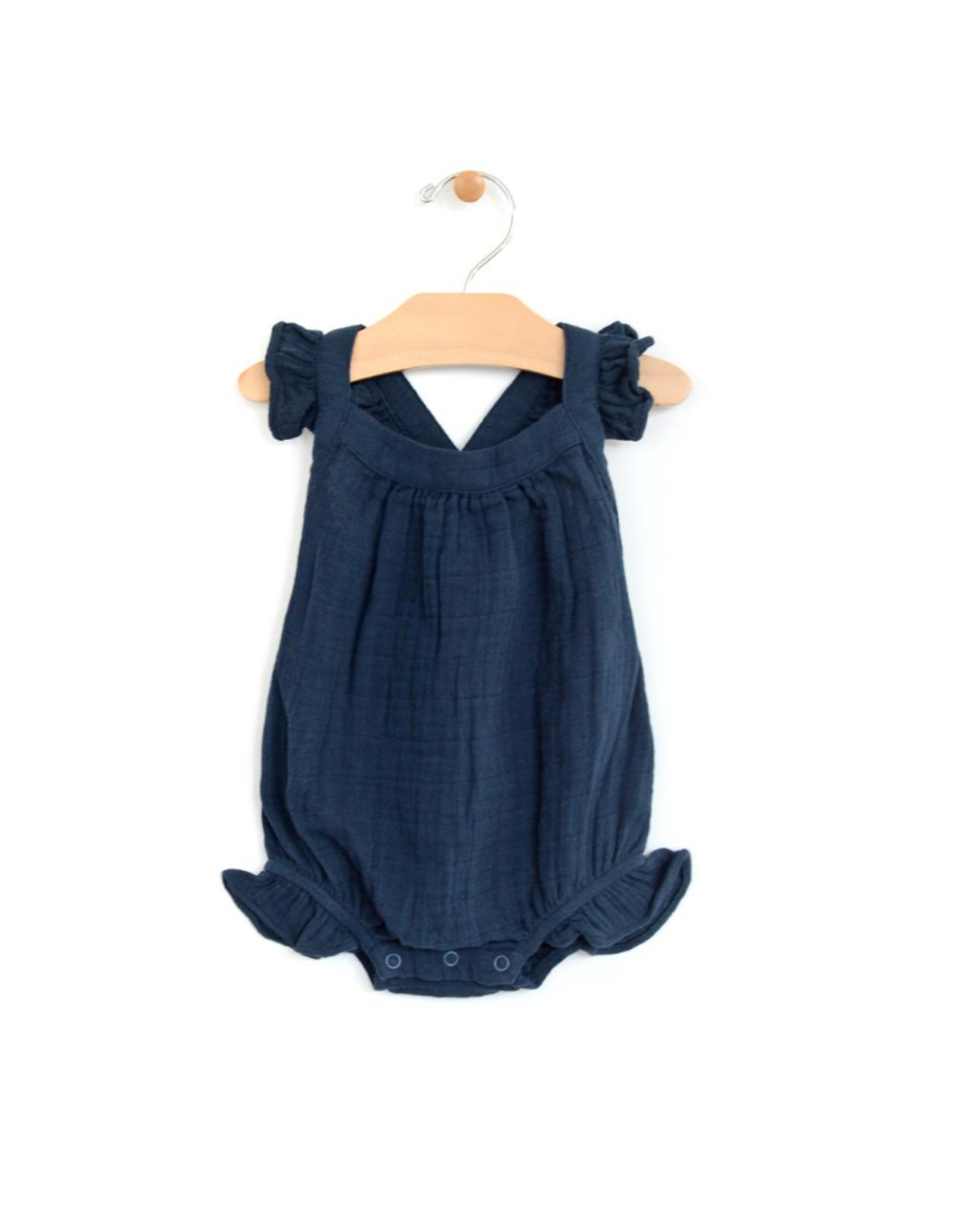 City Mouse City Mouse- Muslin Cross Back Romper- Midnight Blue