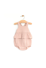 City Mouse City Mouse- Muslin Chest Flutter Romper- Peach