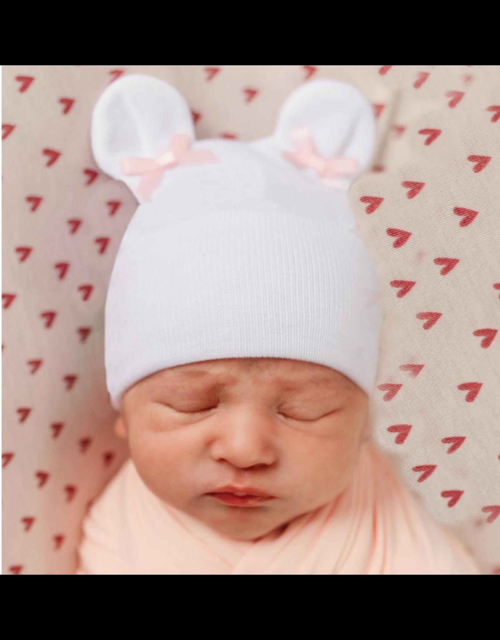 ILYBEAN Ilybean- Pink Bow Bear Ears Nursery Beanie