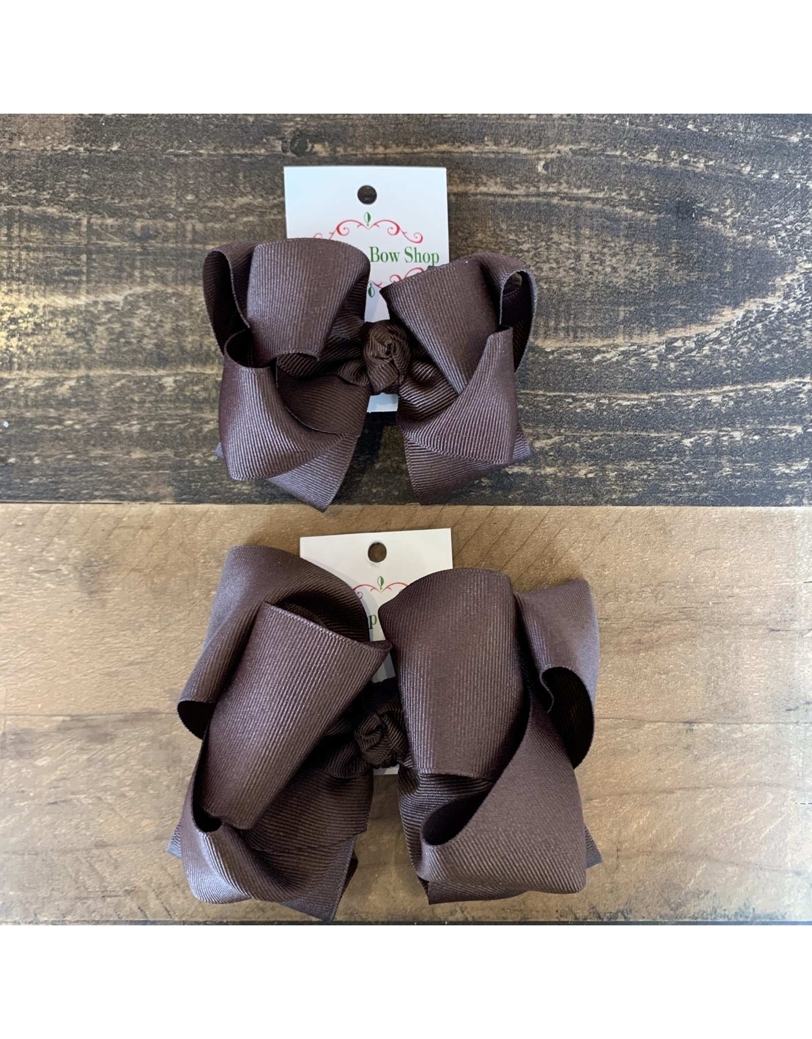 OS- Brown Stacked Grosgrain Bow