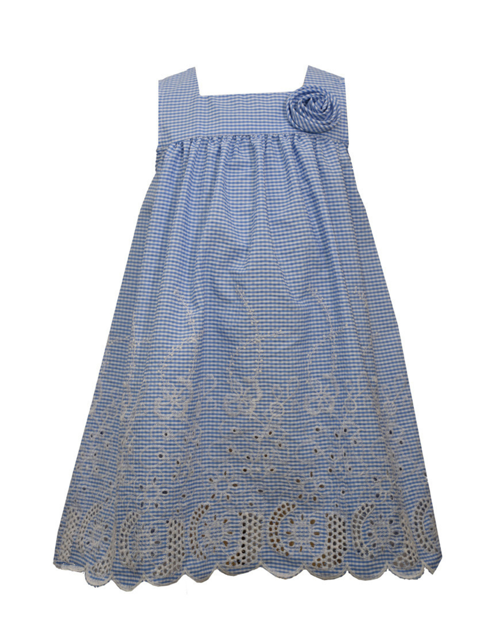Bonnie  Jean Bonnie Jean- Embroidered Blue Check Sundress