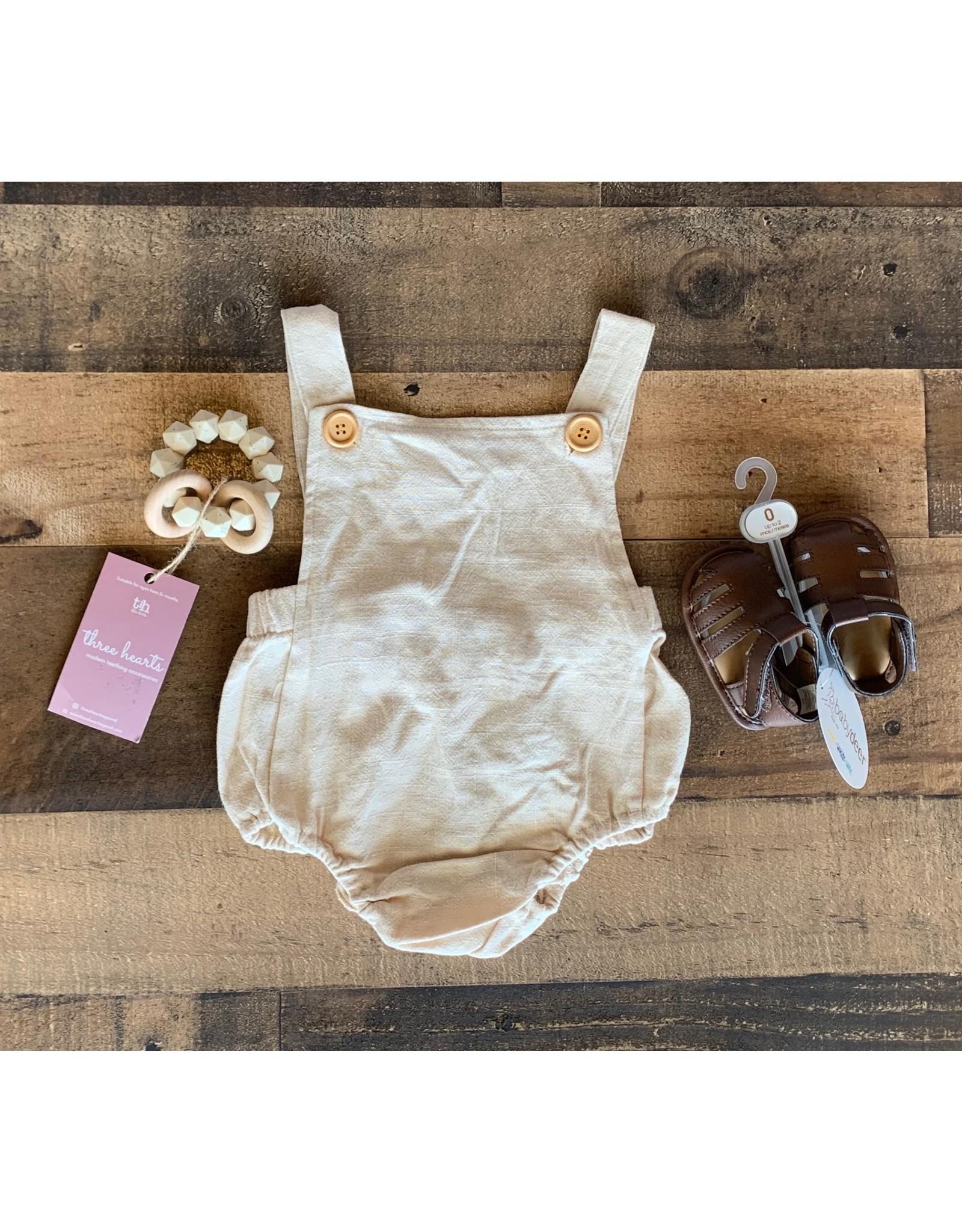 loved by Jade Presley loved by jade presley- Khaki Suspender Backless Romper