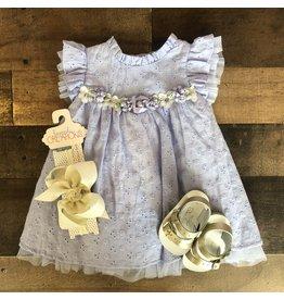 Bonnie  Jean Bonnie Baby- Lavender Flutter Eyelet Dress w/Bloomer