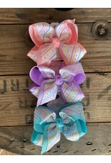 """Beyond Creations BC- 5.5"""" XL Pastel Stripes & Dots Layered Knot Bow"""