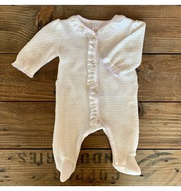 Paty Inc. Paty Inc.- Eyelet & Puff Sleeve Newborn Footie with Lavender Trim