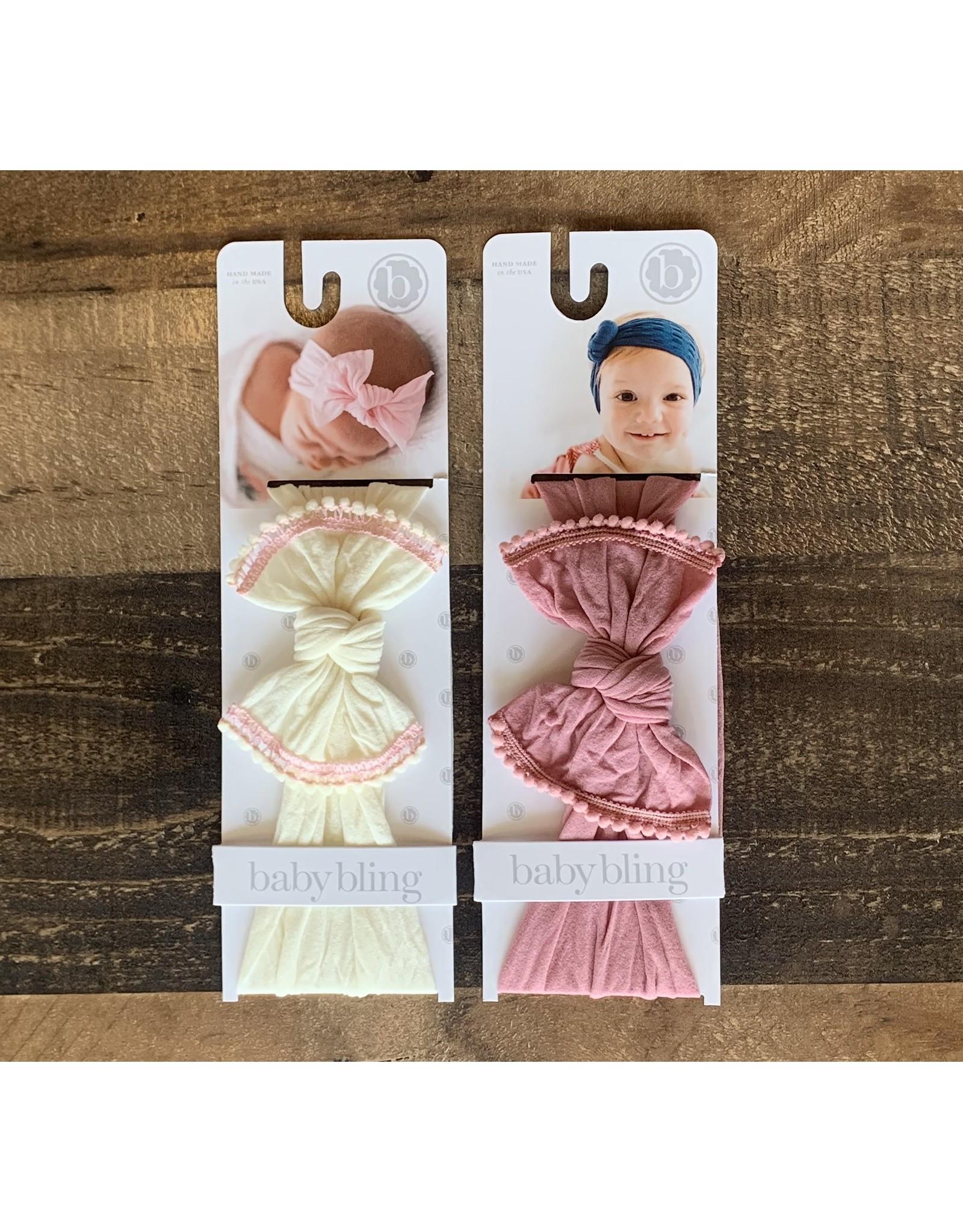 Baby Bling Baby Bling - Trimmed Mini Pom Knot Headband