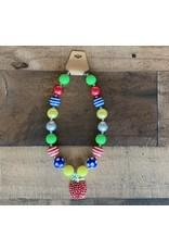 Multi Color Apple Pendant Chunky Necklace