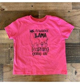 Llama Learning TShirt: Hot Pink